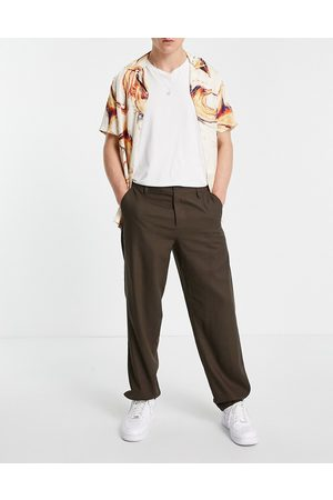 ASOS Linen trousers in baggy fit in