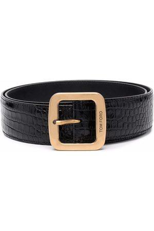 Tom Ford Men Belts - Crocodile-effect leather belt