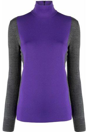 Plan C Women Jumpers - Colour-block roll-neck jumper