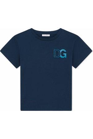 Dolce & Gabbana Boys Short Sleeve - Logo-embossed cotton T-shirt