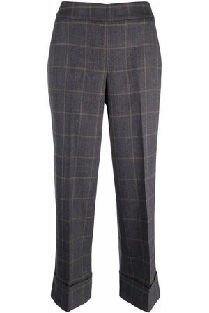 PESERICO SIGN Checked wide-leg trousers