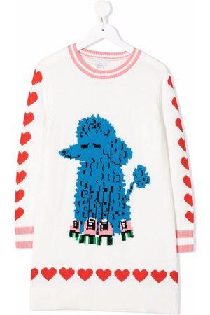 Stella McCartney Girls Knitted Dresses - Skating dog intarsia print knitted-dress