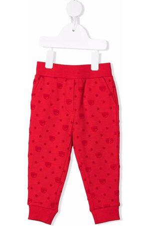 Chiara Ferragni Girls Trousers - Winking eye-motif trackpants