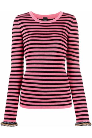 Pinko Women Tops - Contrasting cuffs striped knitted top