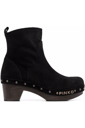 Pinko Women Ankle Boots - Logo-lettering clog style ankle boots