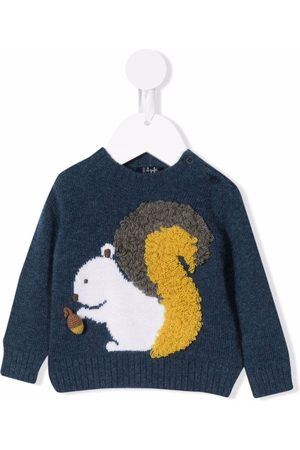 Il gufo Baby Jumpers - 3D squirrel-knit jumper