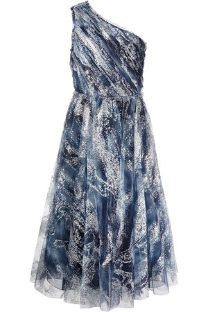 Marchesa Notte Women Party Dresses - One-shoulder glittered tulle gown