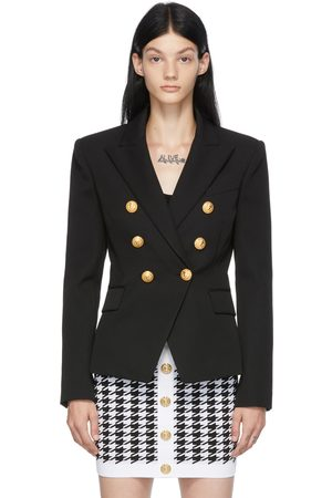 Women Blazers - Balmain Wool Six-Button Permanent Blazer