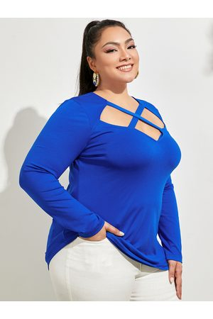 YOINS Plus Size Crew Neck Cut Out Long Sleeves Tee