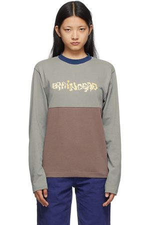 Brain Dead Grey & Brown Embroidered Football Long Sleeve T-Shirt