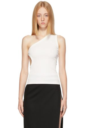 Christopher Esber White One Shoulder Cut-Out Tank Top