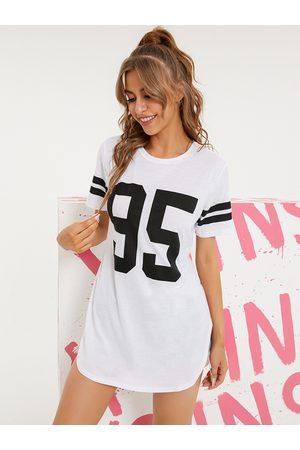 YOINS Women Short Sleeve - Number Print Crew Neck Striped Short Sleeves Long Tee