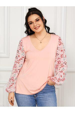 YOINS Plus Size V-neck Floral Print Chiffon Patchwork Design Long Sleeves Tee