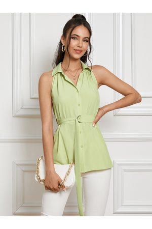YOINS Belt Design Classic Collar Sleeveless Cami