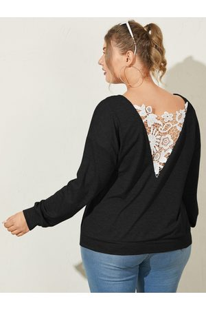 YOINS Plus Size Crew Neck Patchwork Lace Long Sleeves Tee