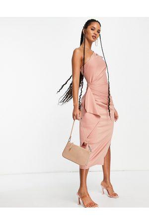 ASOS One shoulder puff sleeve ruffle midi dress in rose