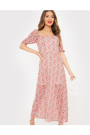 In The Style Women Casual Dresses - X Jac Jossa flutter sleeve midi dress with thigh split in red floral print-Multi