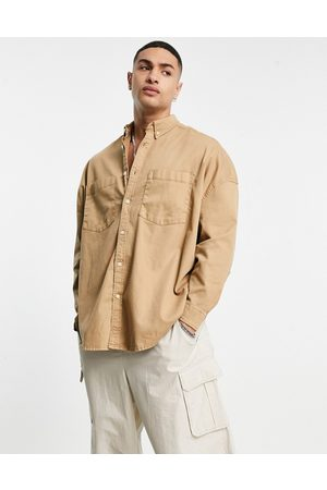 ASOS Men Denim - Extreme oversized denim shirt in stone-Neutral