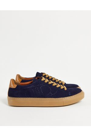 Dune Men Sneakers - Eco minimal lace up trainers in navy leather