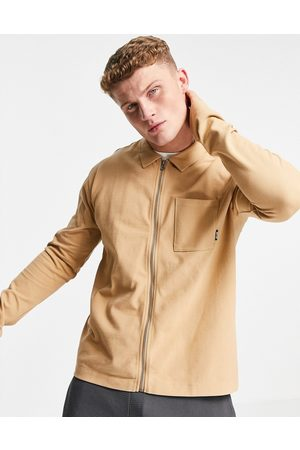 Only & Sons Co-ord herringbone texture zip through shirt in tan