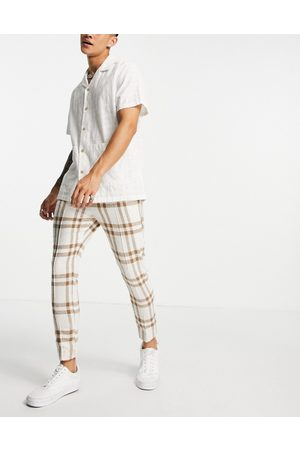ASOS DESIGN Co-ord smart jogger in ecru and brown check-Neutral