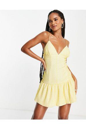 ASOS DESIGN Women Evening Dresses - Cami plunge textured pep mini dress in