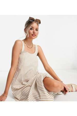 ASOS Women Printed Dresses - ASOS DESIGN Tall scoop maxi dress with ruched back in stone and white stripe print-Multi