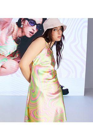 COLLUSION Satin racer slip mini dress in fluro swirl print-Multi