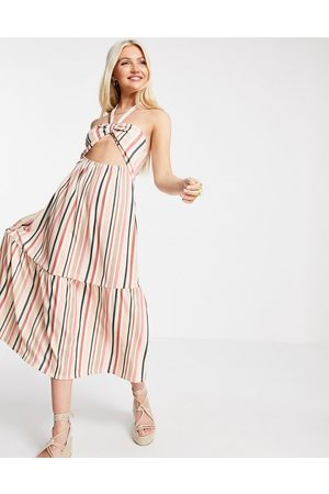 ASOS Halter maxi dress with cut out and tiers in tonal stripe