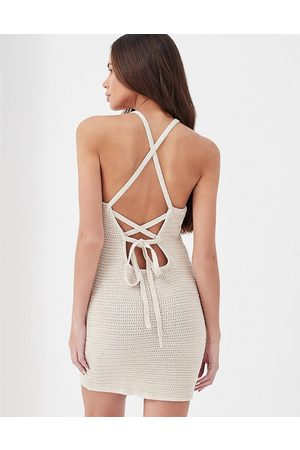 4th & Reckless Everly crochet tie back beach mini dress co-ord in stone-Neutral