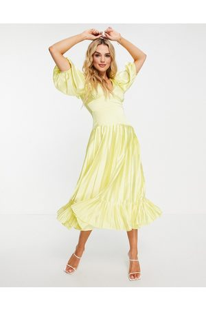 ASOS DESIGN Satin plunge neck pleated midi tea dress in