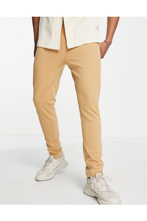Only & Sons Co-ord herringbone texture slim fit joggers in tan