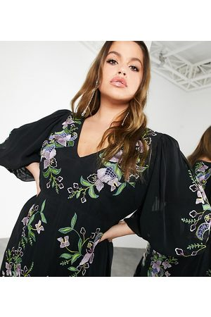 ASOS Curve floral embroidered tiered maxi dress in