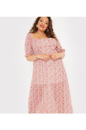 In The Style X Jac Jossa flutter sleeve midi dress with thigh split in floral print