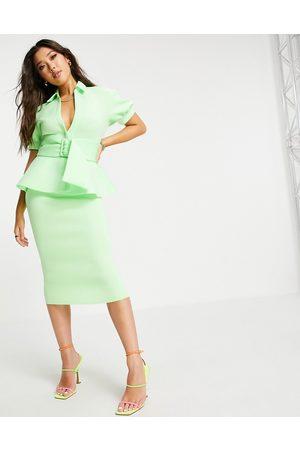 ASOS DESIGN Shirt pephem belted midi dress in green-Multi