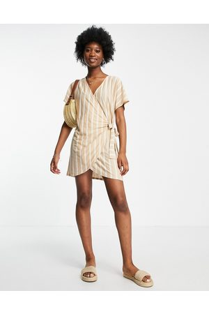 ASOS Wrap dress in taupe and cream stripe