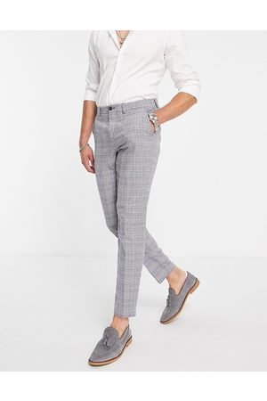 SELECTED Slim tapered linen blend suit trousers in