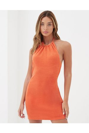 4th & Reckless Santino beach mini towelling dress with high neck in burnt