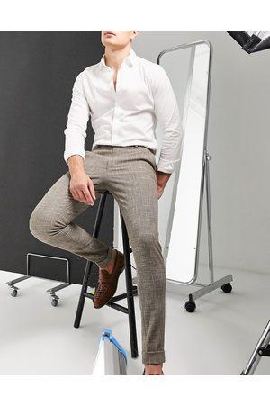 ASOS Super skinny smart trouser in stone cross hatch-Neutral