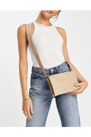 ASOS Women Handbags - Leather multi gusset cross body bag with wide strap-Neutral