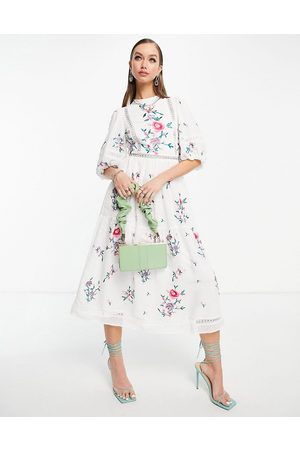 ASOS High neck dobby embroidered midi dress with lace trims in