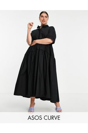 ASOS Curve oversized tiered shirt dress in