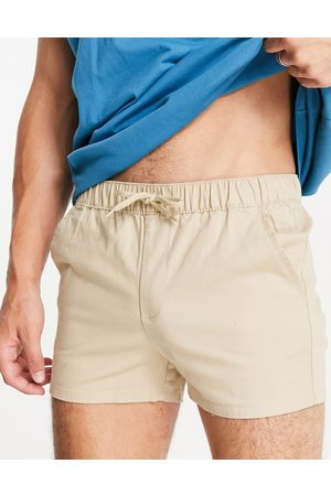 ASOS Chino shorter shorts in slim fit with elasticated waist in -Neutral