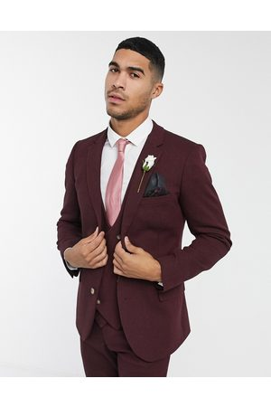 ASOS Men Blazers - Wedding super skinny wool mix suit jacket in burgundy twill