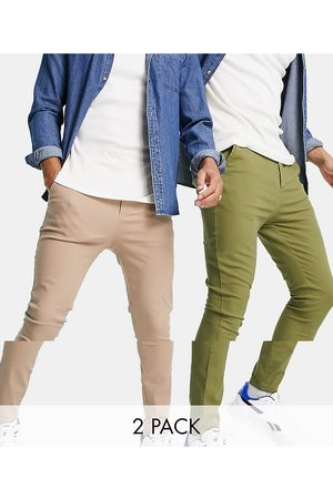 ASOS Men Chinos - 2 pack extreme super skinny chinos in khaki and beige save-Multi