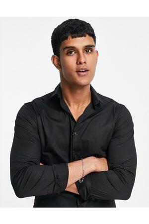 New Look Men Long sleeves - Long sleeve muscle fit poplin shirt in
