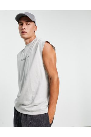 ASOS Dark Future Oversized vest in violet with printed logo in organic cotton