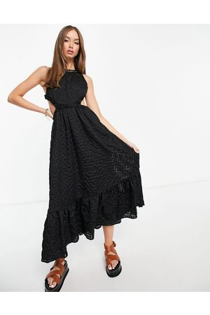 ASOS Tiered hem organza check midi dress with open back in