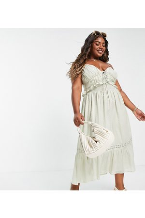 ASOS Women Casual Dresses - ASOS DESIGN Curve dobby midi sundress with shirred waist and lace in sage