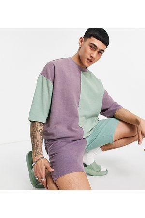 ASOS Co-ord slim waffle shorts in colour block-Multi
